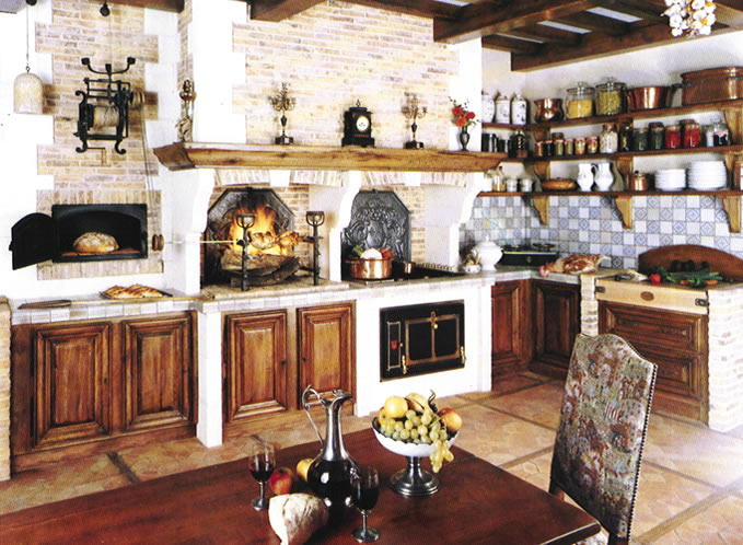 A Very Typical U0027old Worldu0027 French Kitchen Design. Dark Wood Cabinets Are  Inserted Into The Masonry.