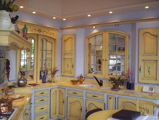 Yellow French painted kitchen