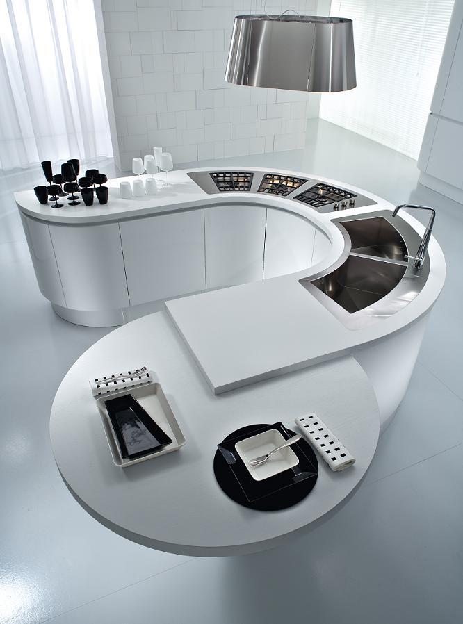 The new Artika round island with radius end cabinets