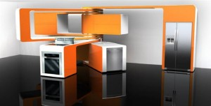 A kitchen with movable components