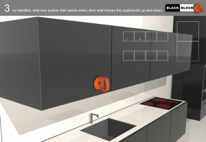 the cabinets and panels made in corian can be variously moved & repositioned, continuously transformed in a fixed space.