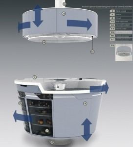 Hang the kitchen ventilator under the top cupboard with function of illumination.