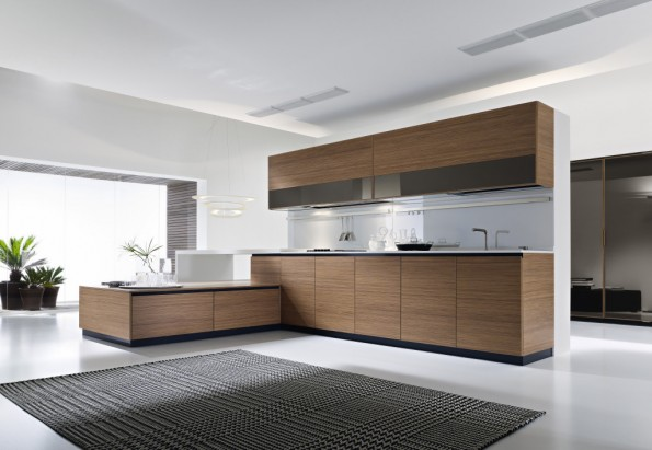 Dune large walnut kitchen for European kitchen design