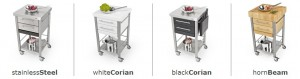 available in european hornbeam, teak, white corian®, or full stainless steel
