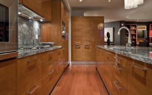 European modern wood veneer kitchen by Pedini