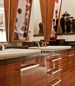 One of the vanities, in the Escala Building, in high gloss lacquer, over wood veneer